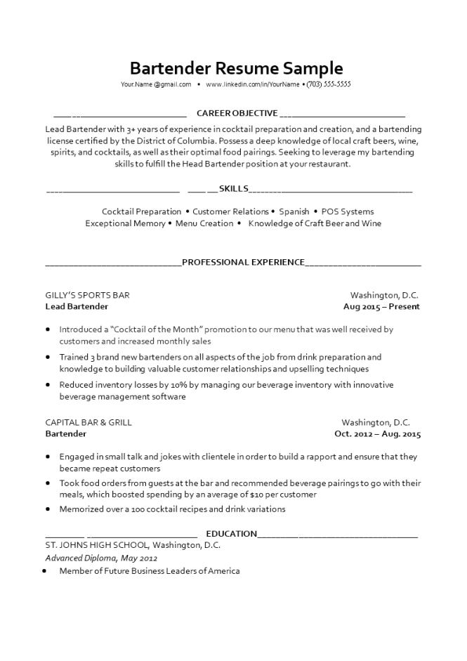 Bartending Resume Sample