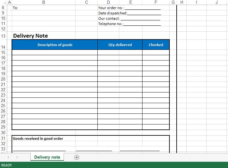 免費 Delivery Note Excel Template | 樣本文件在 allbusinesstemplates.com