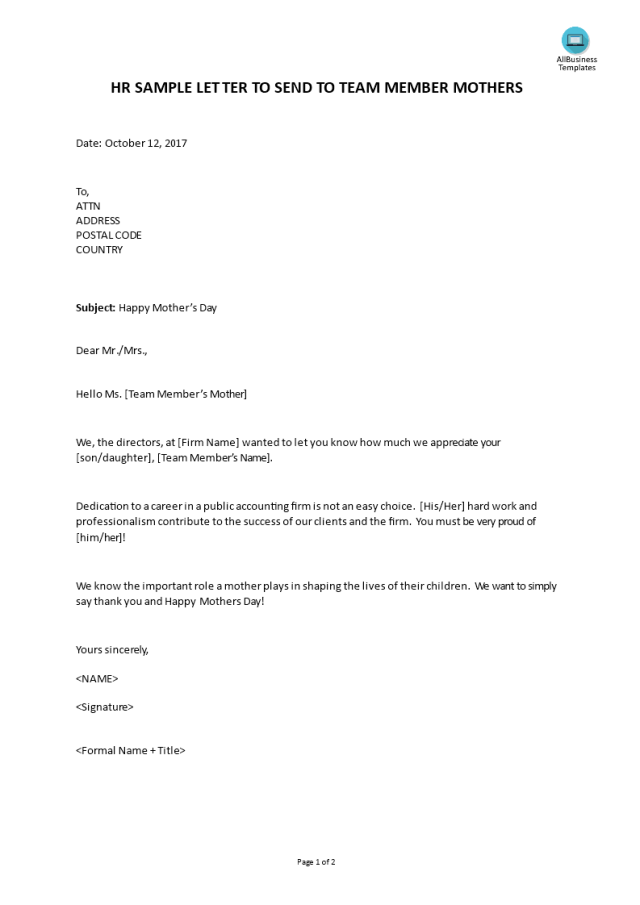Hr Sample Letter To Send To Team Member Mothers  Templates at