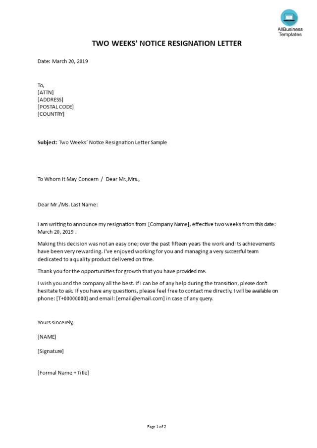 免费Two Weeks Notice Resignation  样本文件在allbusinesstemplates.com
