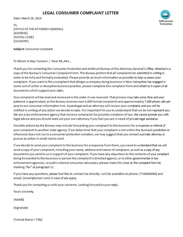 Sample Legal Complaint Letter  Templates at allbusinesstemplates