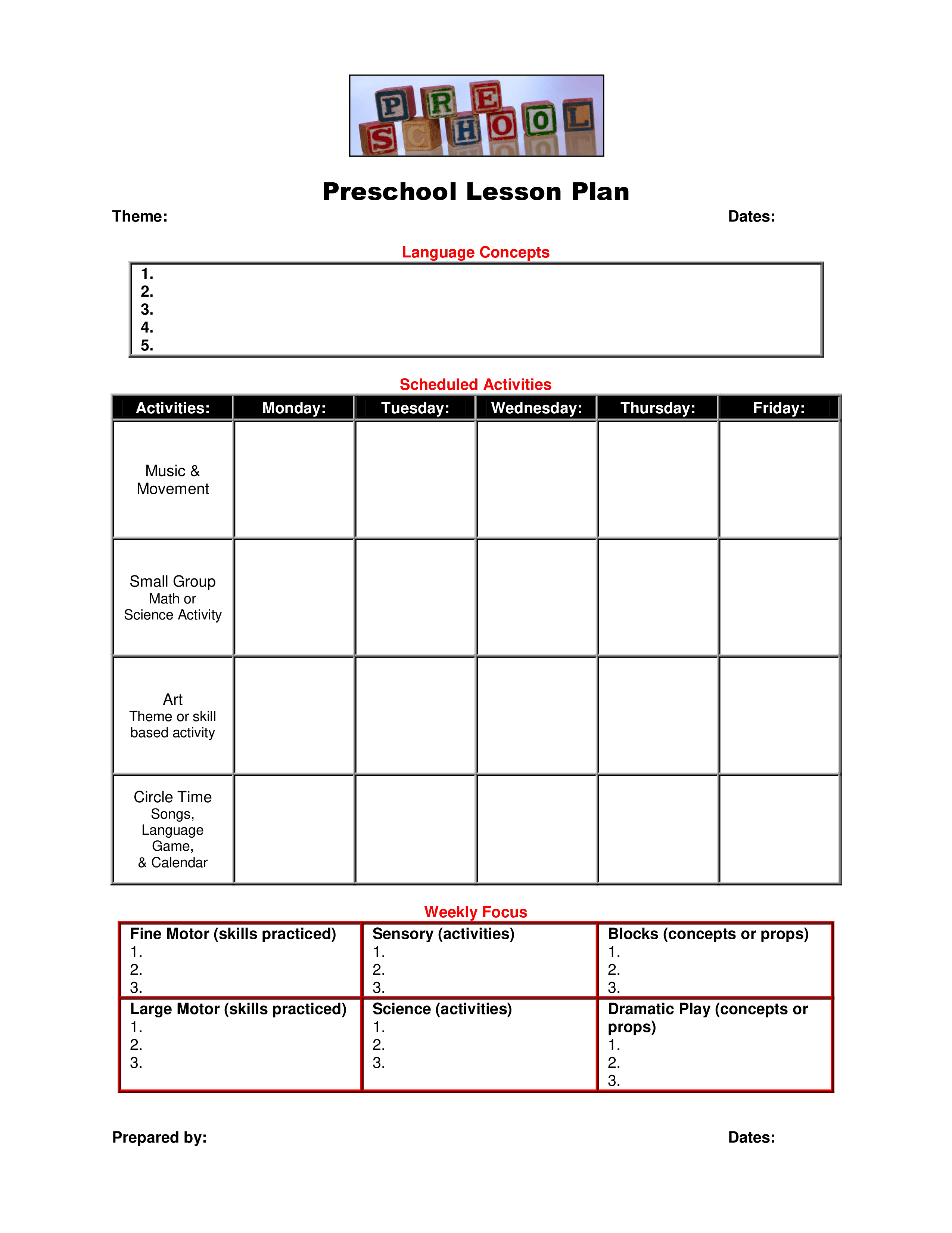 These free business plan templates will help you create a roadmap to growth and success. Blank Preschool Lesson Plan Templates At Allbusinesstemplates Com
