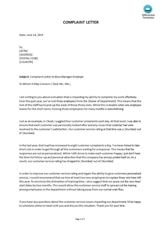 Kostenloses Sample Complaint Letter to Boss / Manager / Employer
