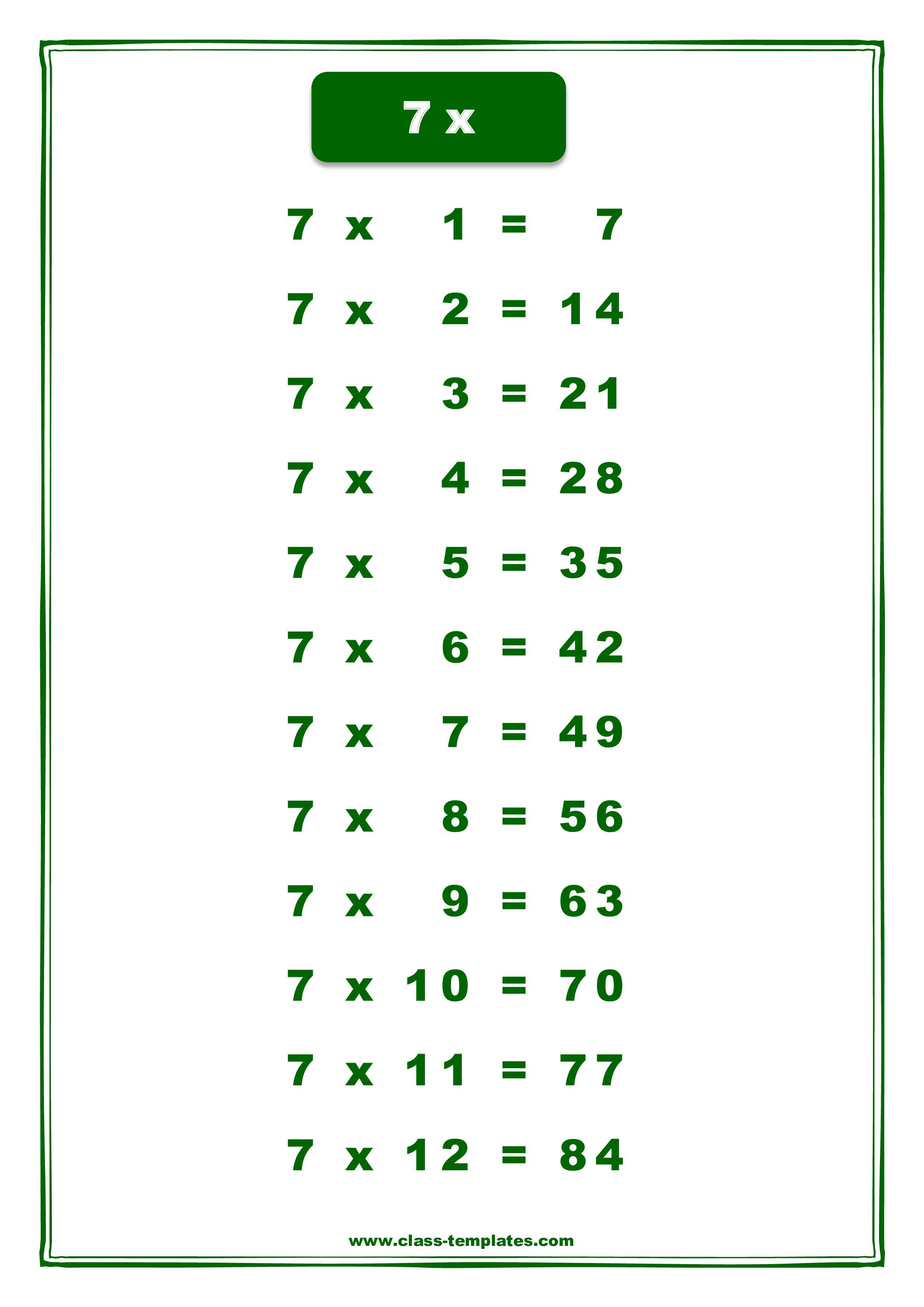 7x Times Table Chart