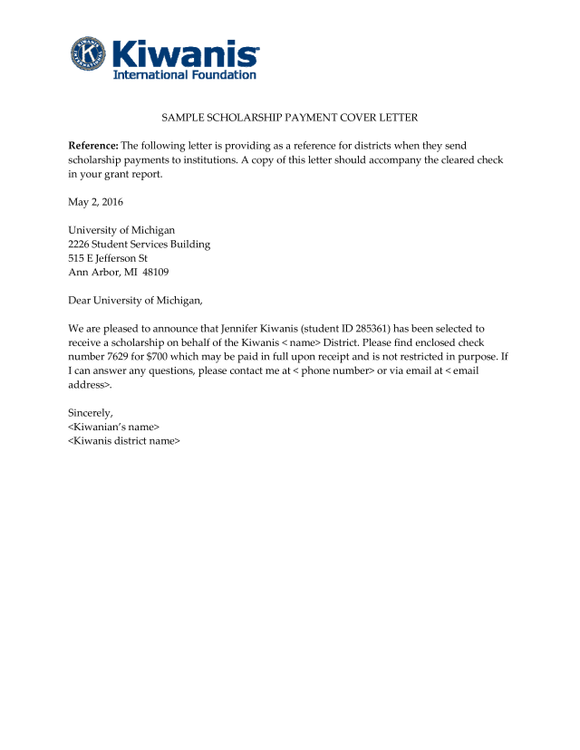 Kostenloses Announcement Letter for Receiving Scholarship to Student