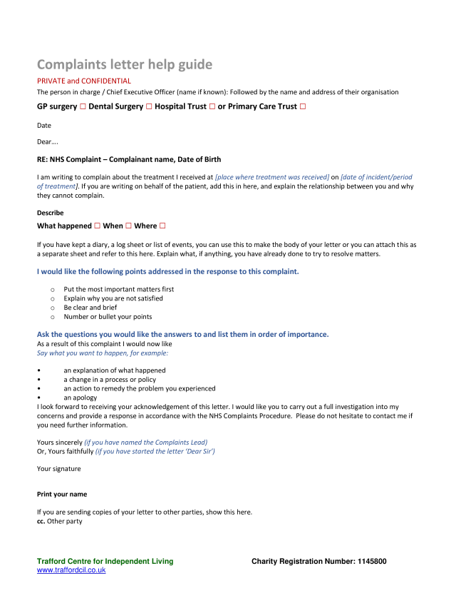 Official Complaint Sample Letter  Templates at