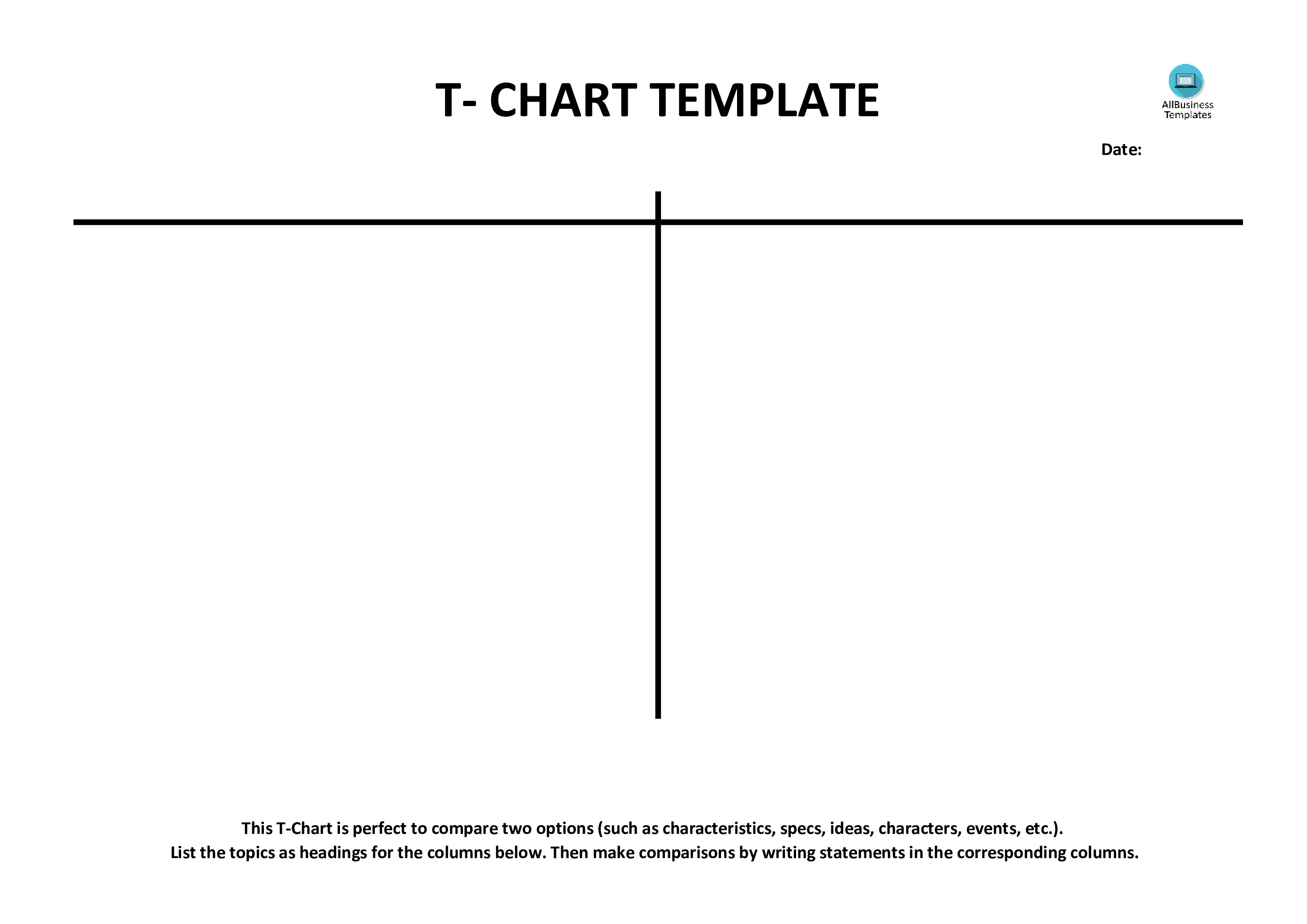 T Chart Example Blank