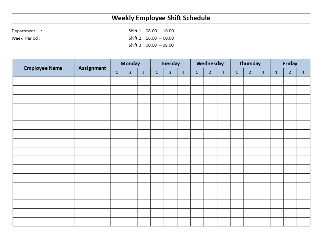 Every employee would like a more flexible schedule. Telecharger Gratuit Weekly Employee 8 Hour Shift Schedule Mon To Fri