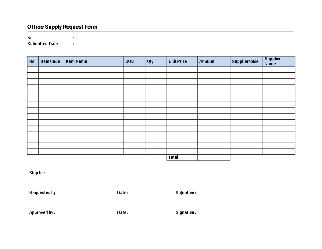 Office Supply Request Model