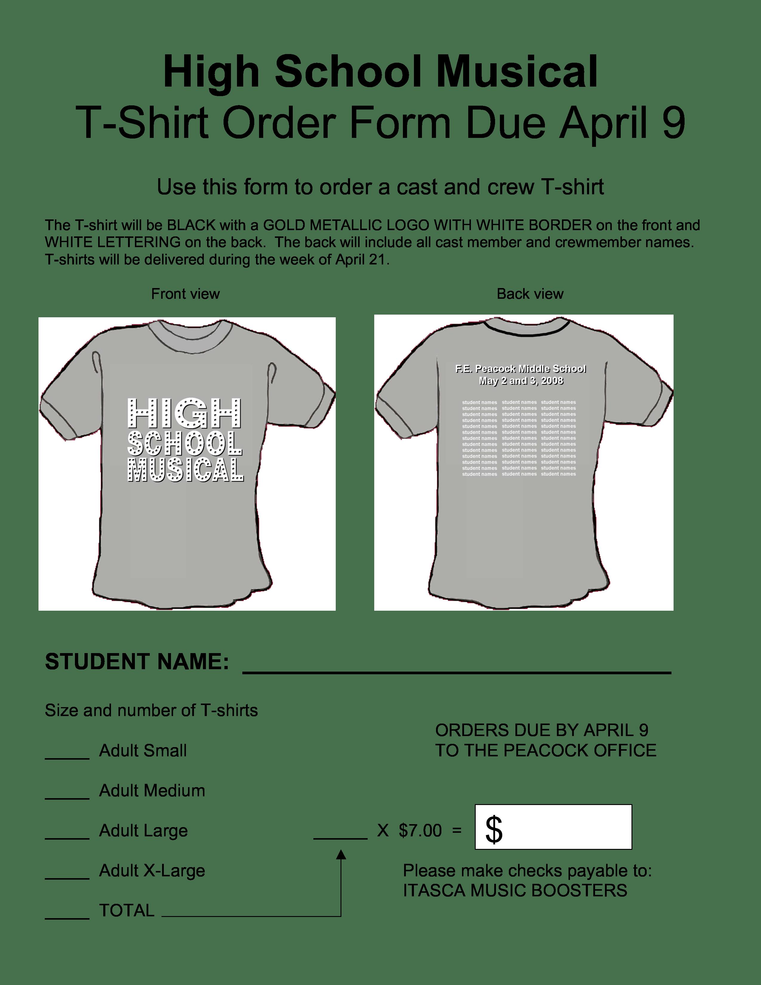 High School T Shirt Order Form
