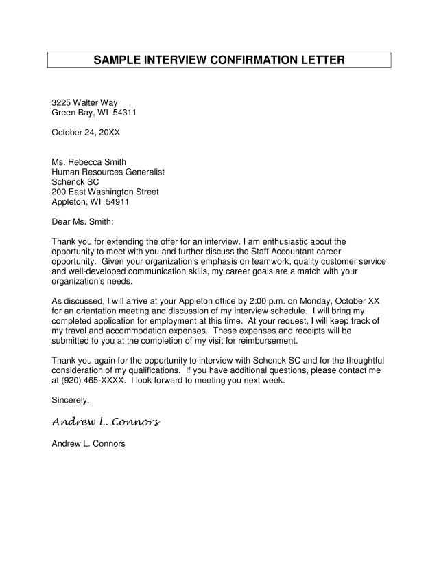 Kostenloses Confirmation Letter For Interview