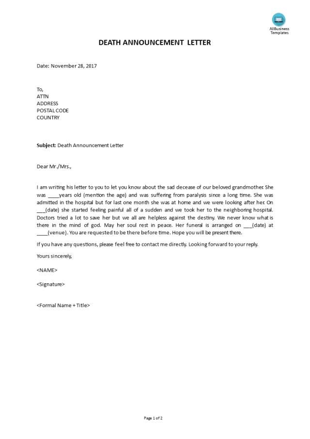 Gratis Death Announcement Letter