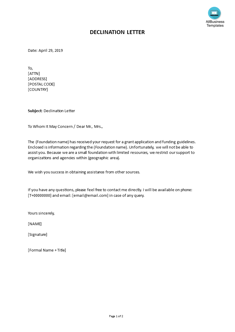 kostenloses declination letter for