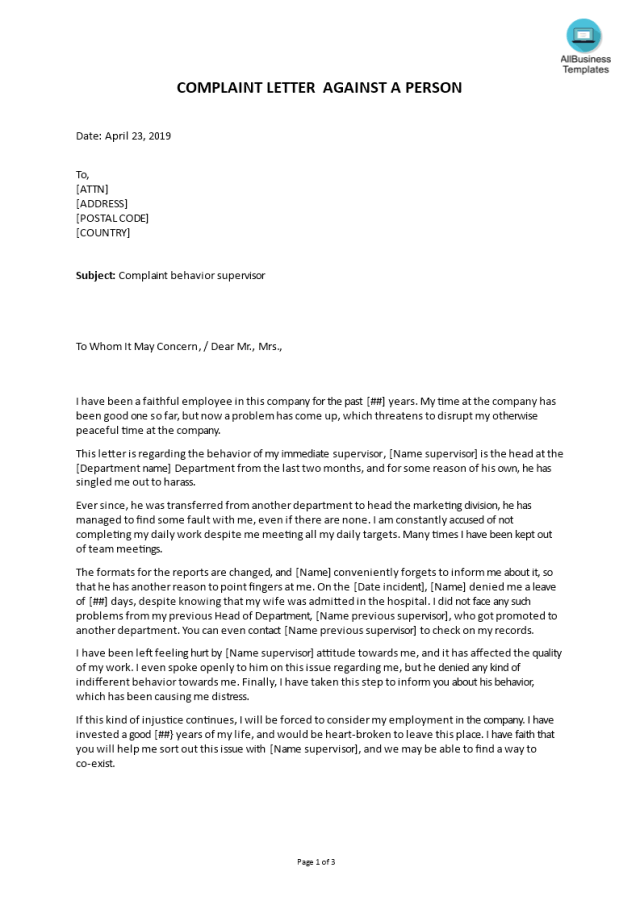 Formal complaint letter sample against a person  Templates at