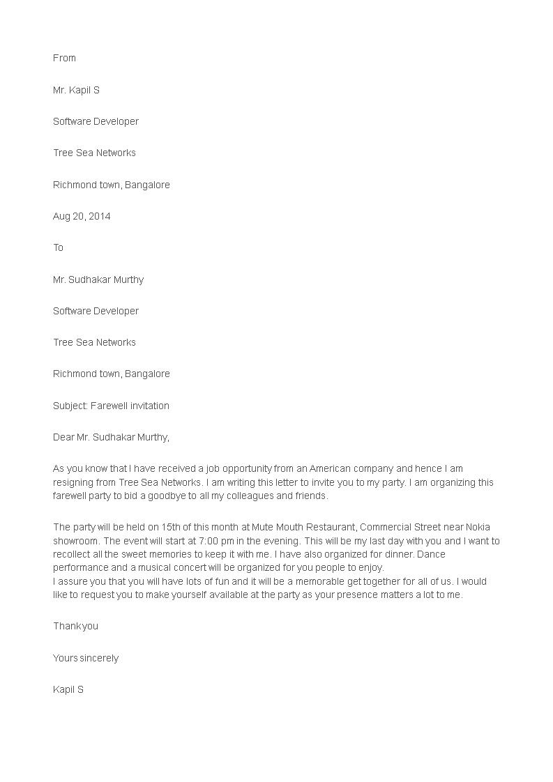 formal farewell invitation letter