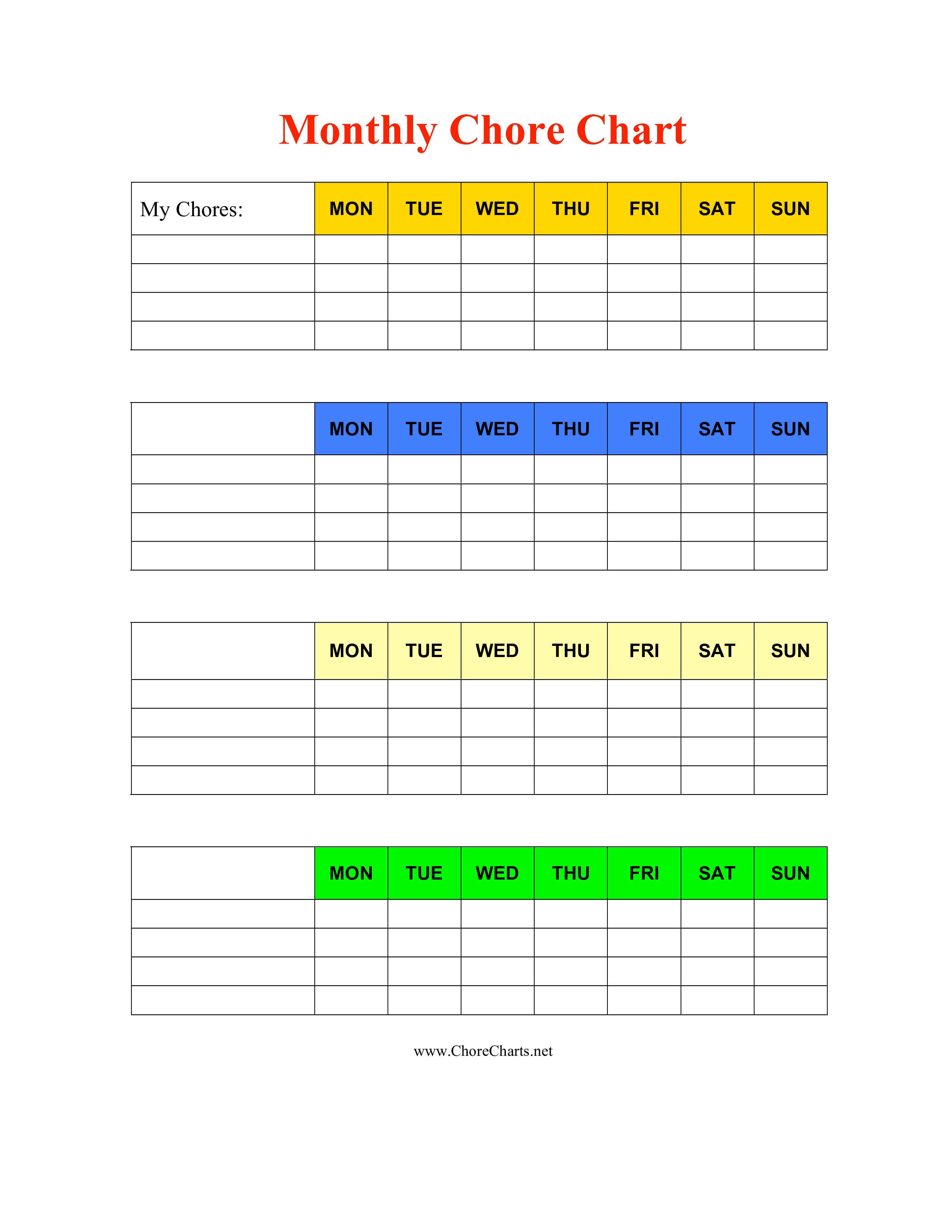 Monthly Chore Chart For Kids