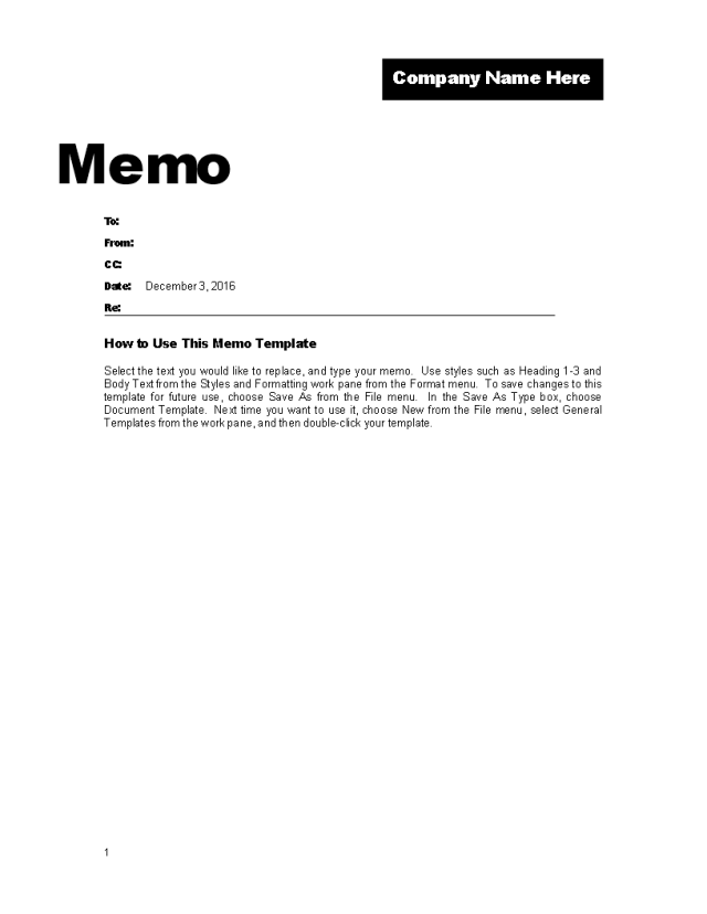 Memo Template for Company Promotion  Templates at