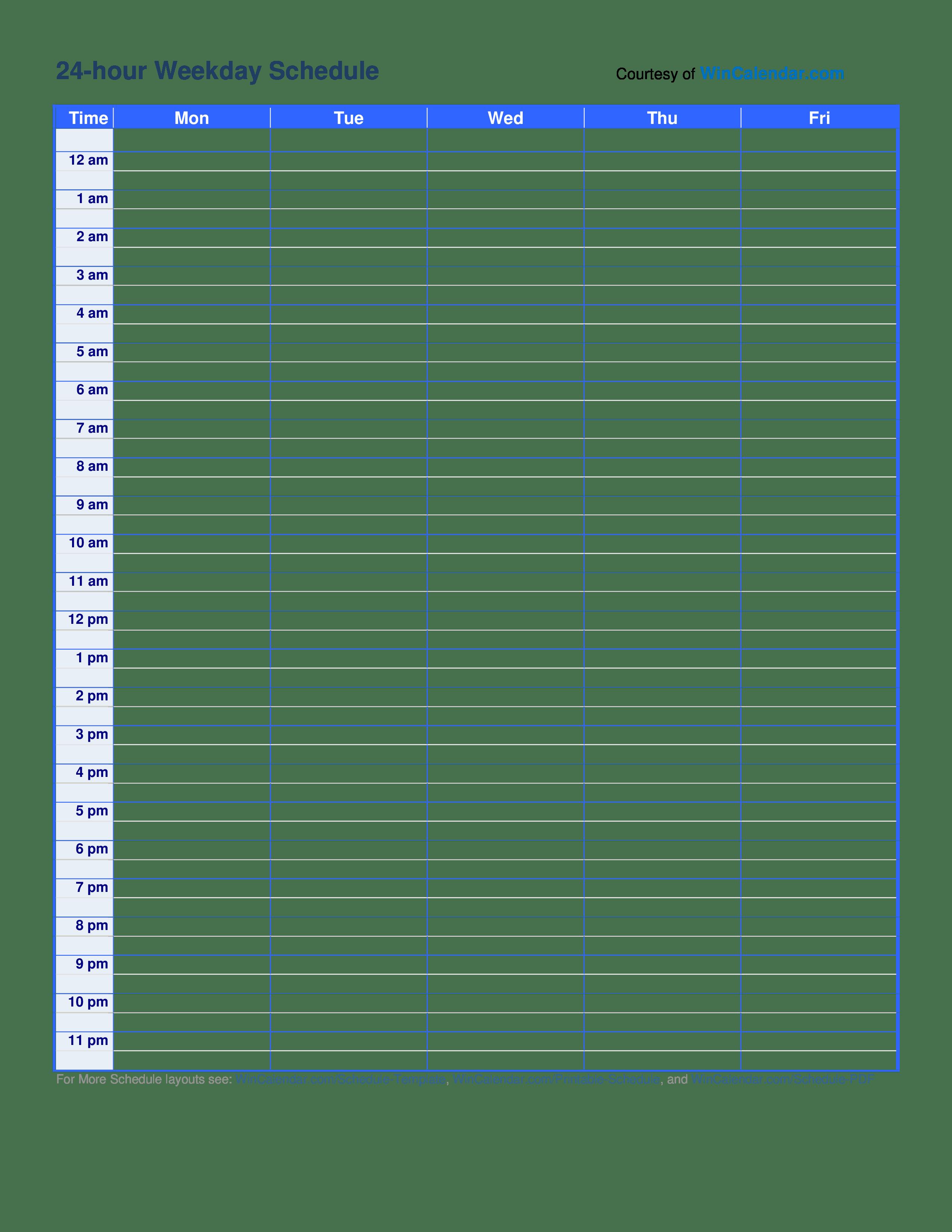 Excel Templates 24 7 Schedule Template