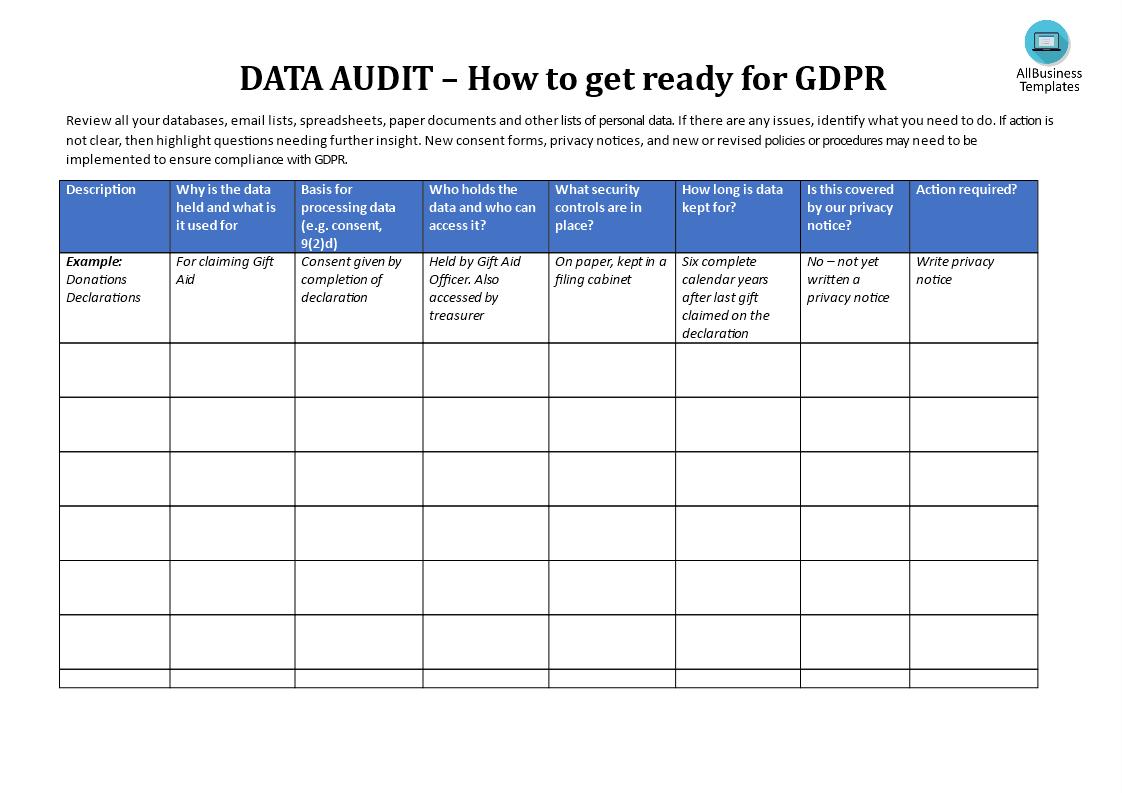 Gdpr Data Audit Template