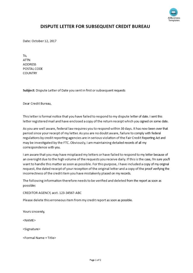 Dispute Letter For Credit Bureau - Premium Schablone