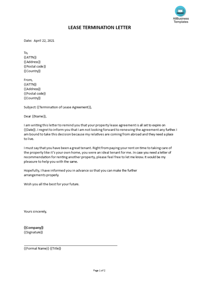 Kostenloses Lease Termination Letter Sample