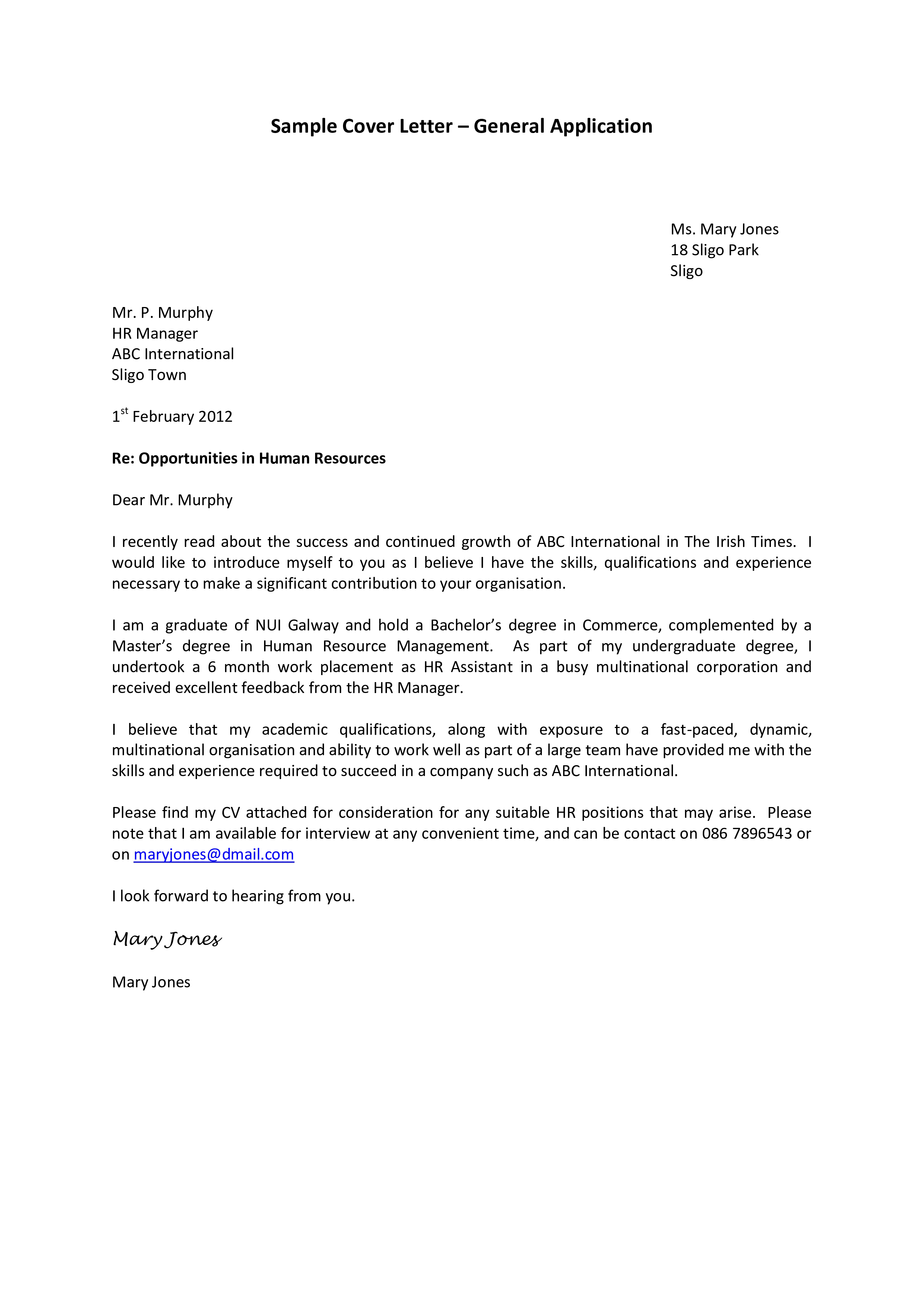 Business Application Cover Letter Format