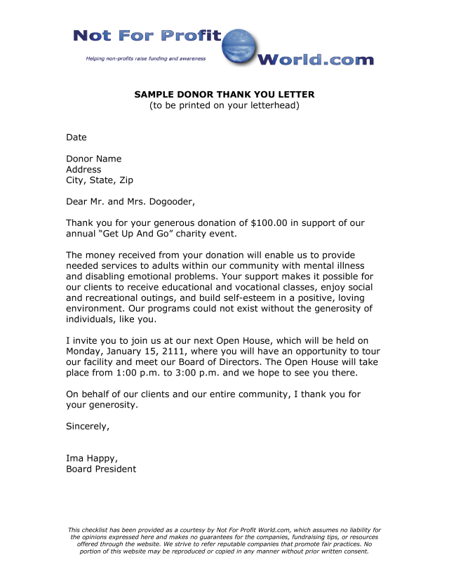 Charity Donation Thank You Letter  Templates at