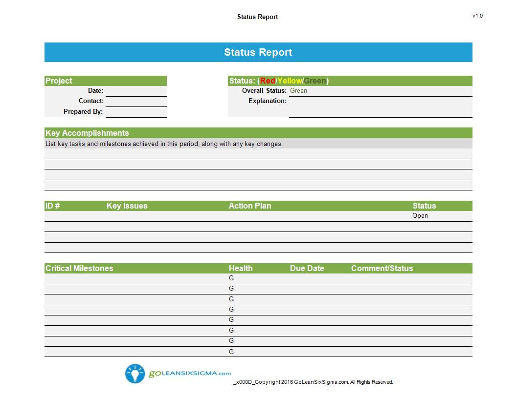 Status Report Template Worksheet Excel