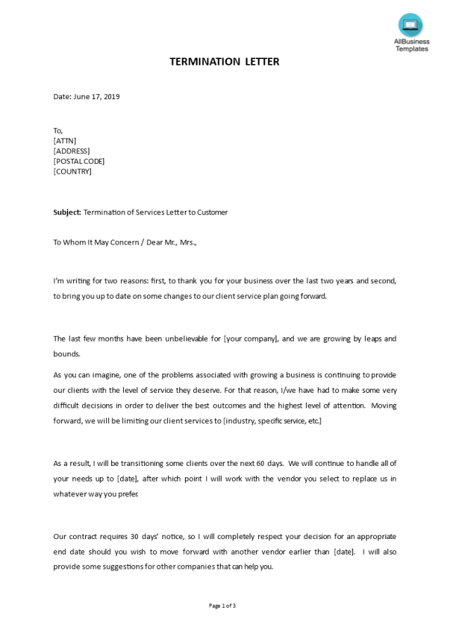 Kostenloses Termination of Business Services Letter to Customer