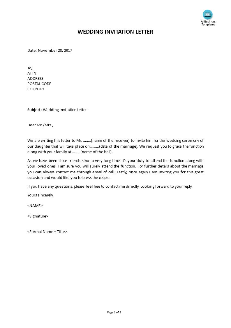 wedding invitation letter template