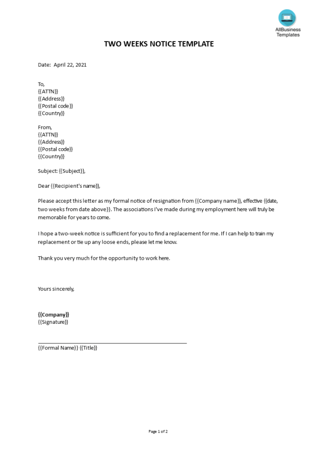 Kostenloses Two weeks notice template