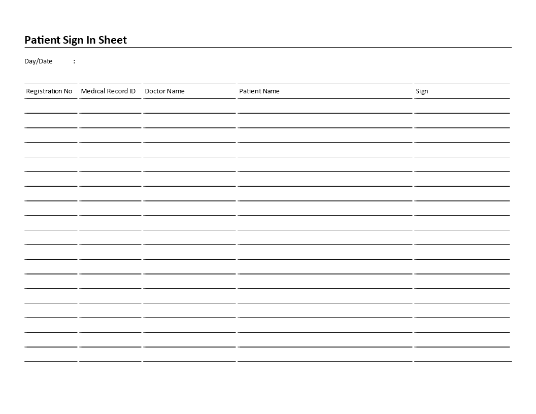 Patient Sign In Sheet Landscape