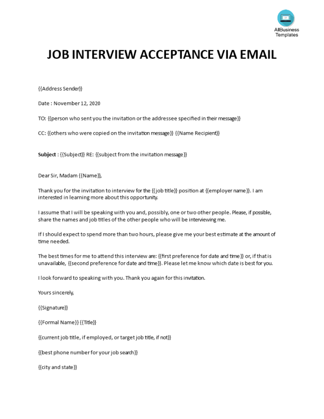 Télécharger Gratuit Email confirming interview