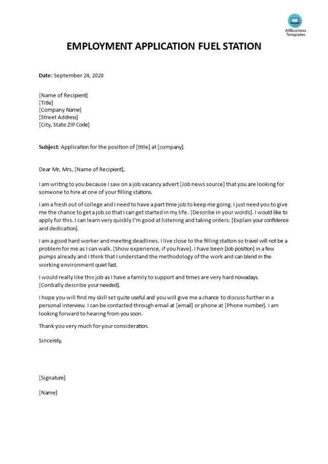Kostenloses Fuel Station Employment Application Letter