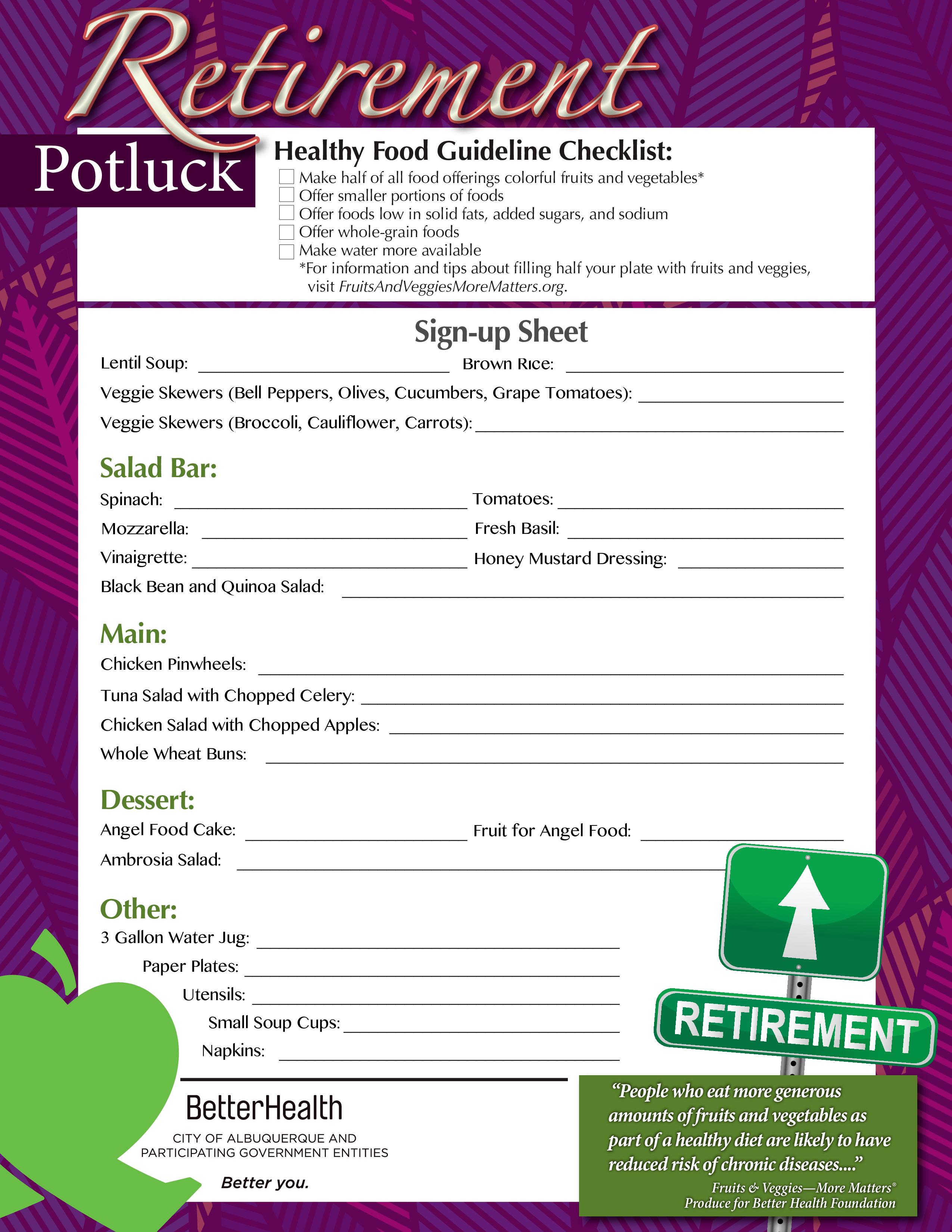 Potluck Signup Sheet Template