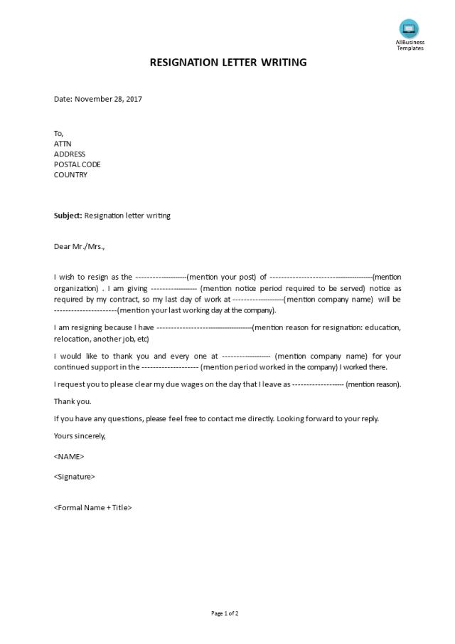 Kostenloses Resignation Letter Writing