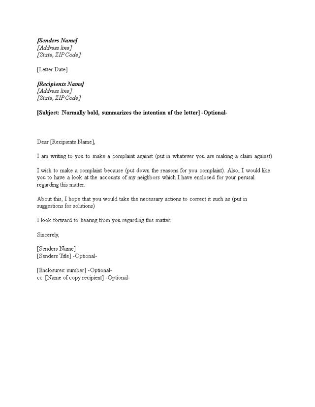 Kostenloses Landlord Tenant Complaint Letter