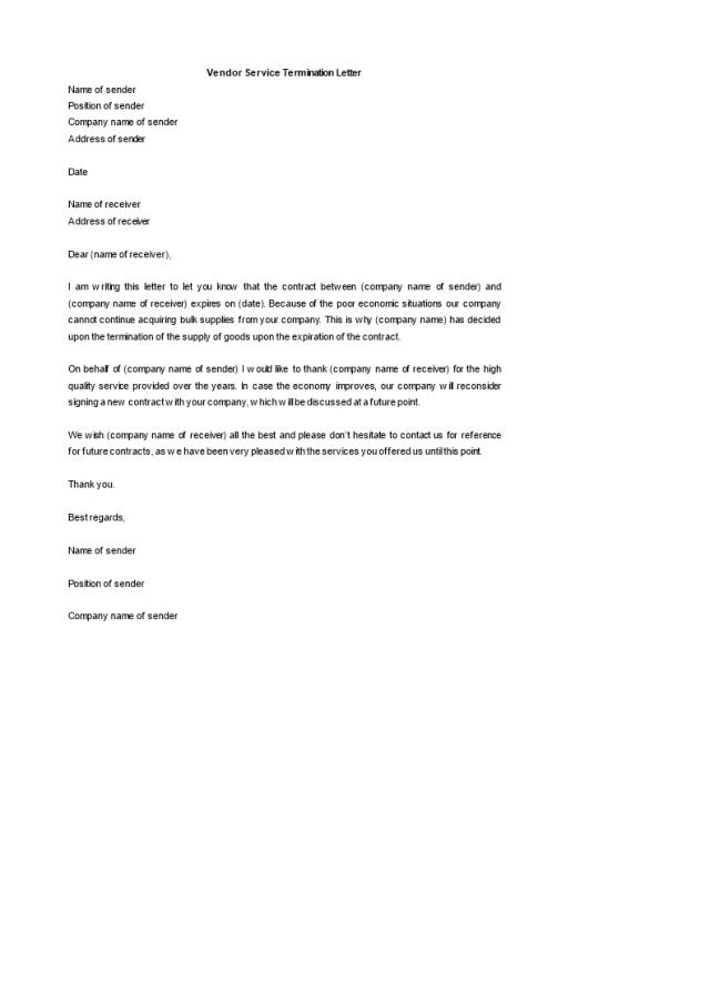 Kostenloses Vendor Service Termination Letter