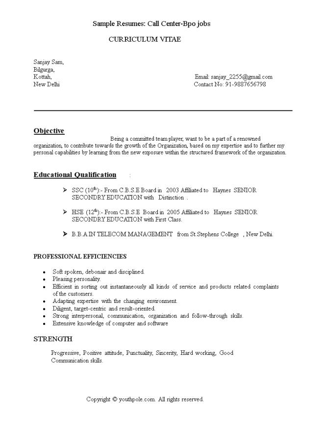 bpo resume format