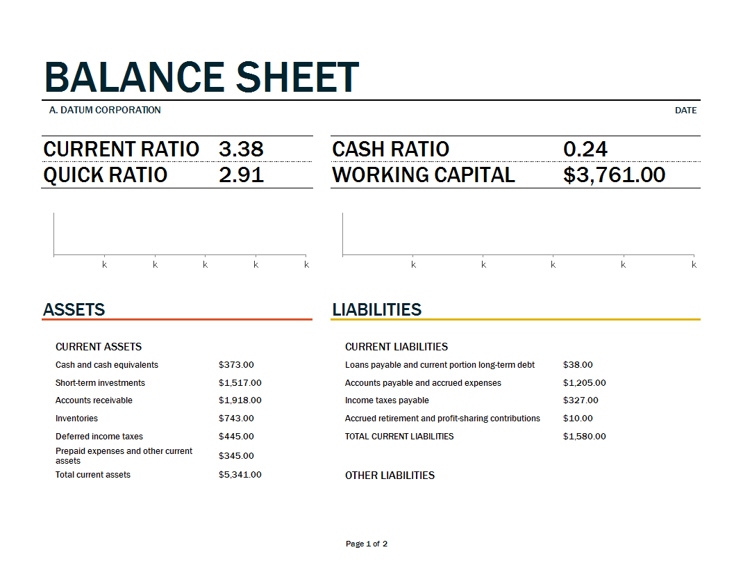 Balance Sheet Template Excel Worksheet