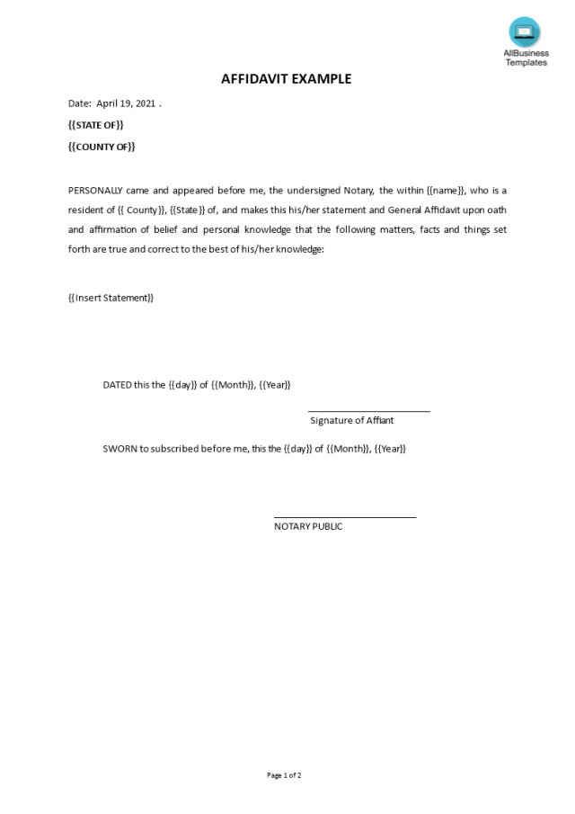 Affidavit example - Premium Schablone