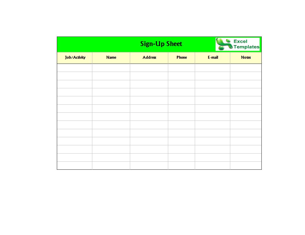 Sign Up Sheet Worksheet Excel Xls