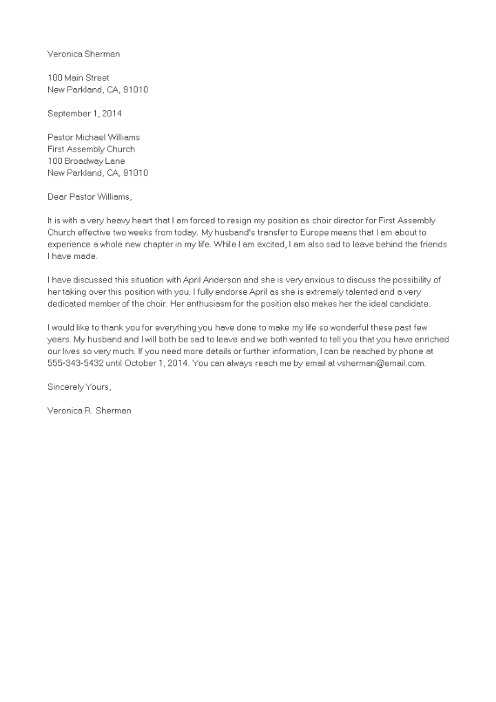 volunteer resignation letter | Poemsview.co