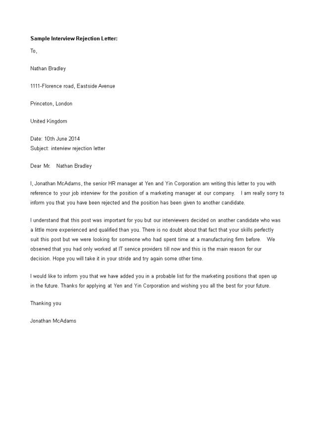 Kostenloses Polite Interview Rejection Letter