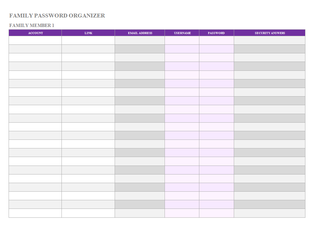 Password List Worksheet Template
