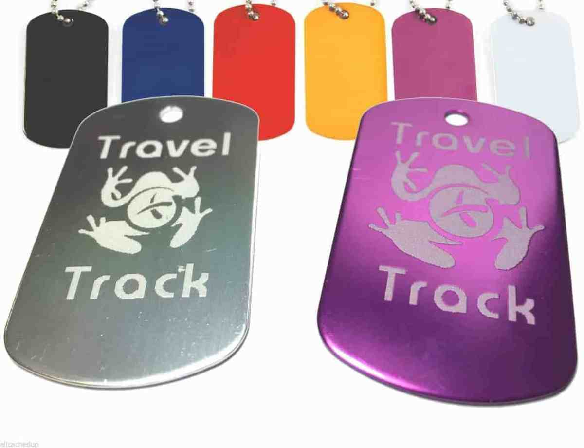 Geocaching Trackable Dog Tag - PERSONALISED - Unactivated Code Geocache Tags