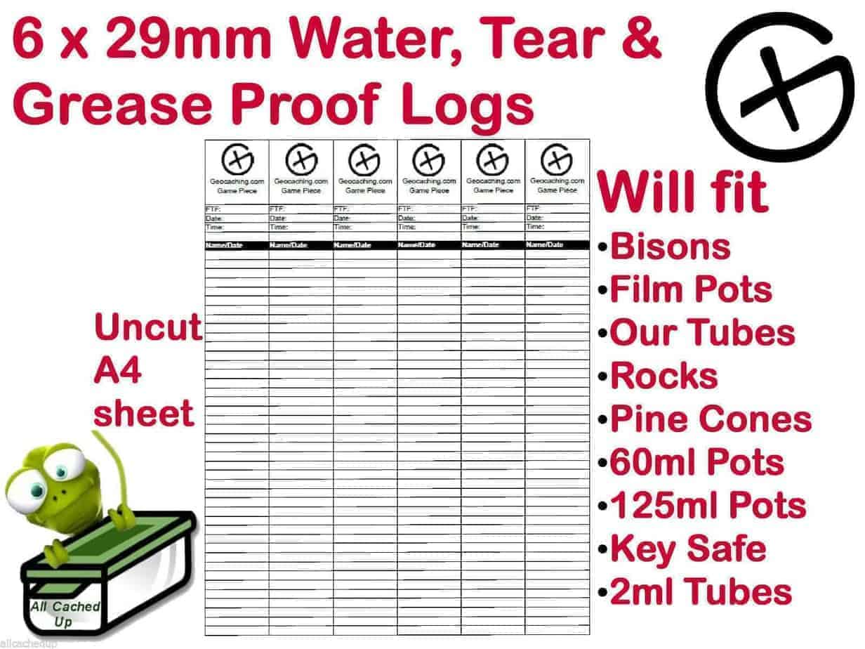 6 Geocache Logs Geocaching Log Sheets Water Rip Tear Amp Grease Resistant Paper