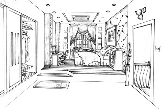One Point Perspective Drawing Tutorial Room Perspective