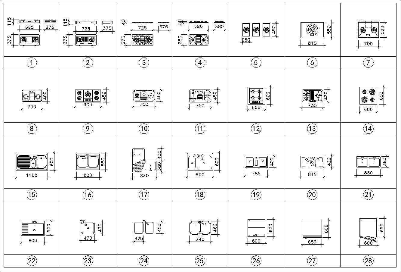 Kitchen Cad Blocks Set