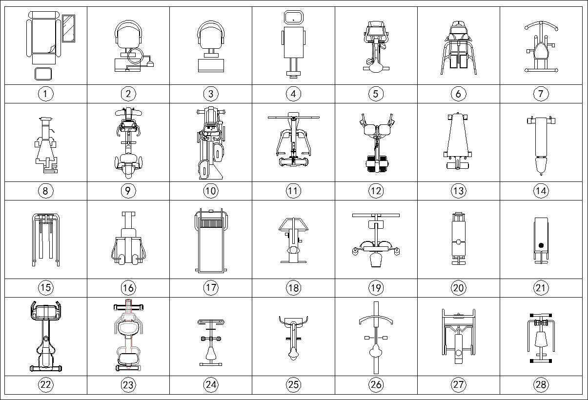 Fitness equipment cad blocks free drawings